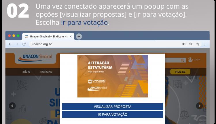 2 Uma vez conectado aparecerá um popup com as opções [visualizar propostas] e [ir para votação]. Escolha ir para votação.
