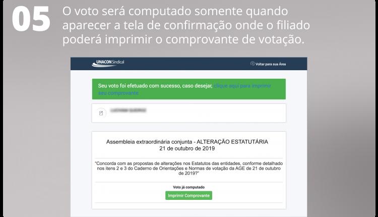 5 O voto será computado somente quando aparecer a tela de confirmação onde o filiado poderá imprimir o comprovante de votação.
