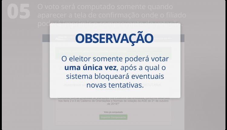 OBSERVAÇÃO: O eleitor somente poderá votar uma única vez, após a qual o sistema bloqueará eventuais novas tentativas.