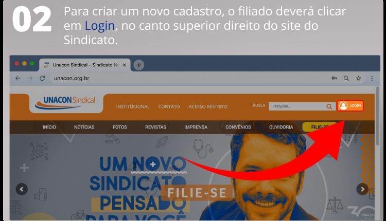 Para criar um novo cadastro, o filiado deverá clicar em Login, no canto superior direito do site do Sindicato.
